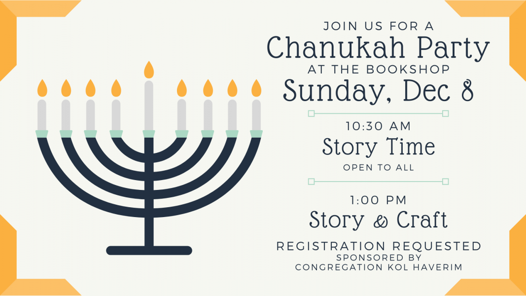River Bend Bookshop is hosting a Chanukah party on December 8th